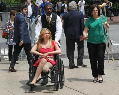 Victims of the Marathon bombing were among the guests at Wednesday's fund-raiser: Heather Abbott, in wheelchair, with mother Rosemary Abbott.
